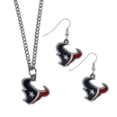 Siskiyou Buckle Houston Texans Dangle Earrings and Chain Necklace Set, FDEN190FN