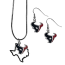 Siskiyou Buckle Houston Texans Dangle Earrings and State Necklace Set, FDEN190SN