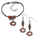Siskiyou Buckle Chicago Bears Euro Bead Earrings and Bracelet Set, FEBE005BBR