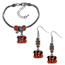 Siskiyou Buckle Cincinnati Bengals Euro Bead Earrings and Bracelet Set, FEBE010BBR