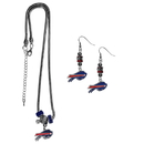 Siskiyou Buckle Buffalo Bills Euro Bead Earrings and Necklace Set, FEBE015BNK