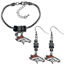 Siskiyou Buckle Denver Broncos Euro Bead Earrings and Bracelet Set, FEBE020BBR