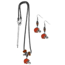 Siskiyou Buckle Cleveland Browns Euro Bead Earrings and Necklace Set, FEBE025BNK