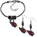 Siskiyou Buckle Arizona Cardinals Euro Bead Earrings and Bracelet Set, FEBE035BBR