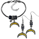 Siskiyou Buckle Los Angeles Chargers Euro Bead Earrings and Bracelet Set, FEBE040BBR