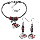 Siskiyou Buckle Kansas City Chiefs Euro Bead Earrings and Bracelet Set, FEBE045BBR