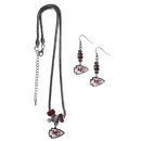 Siskiyou Buckle Kansas City Chiefs Euro Bead Earrings and Necklace Set, FEBE045BNK