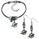 Siskiyou Buckle Miami Dolphins Euro Bead Earrings and Bracelet Set, FEBE060BBR