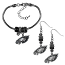 Siskiyou Buckle Philadelphia Eagles Euro Bead Earrings and Bracelet Set, FEBE065BBR