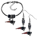 Siskiyou Buckle New England Patriots Euro Bead Earrings and Bracelet Set, FEBE120BBR