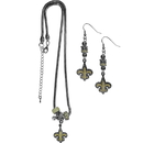 Siskiyou Buckle New Orleans Saints Euro Bead Earrings and Necklace Set, FEBE150BNK