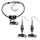 Siskiyou Buckle Seattle Seahawks Euro Bead Earrings and Bracelet Set, FEBE155BBR