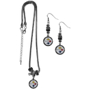 Siskiyou Buckle Pittsburgh Steelers Euro Bead Earrings and Necklace Set, FEBE160BNK