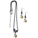 Siskiyou Buckle Minnesota Vikings Euro Bead Earrings and Necklace Set, FEBE165BNK