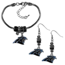 Siskiyou Buckle Carolina Panthers Euro Bead Earrings and Bracelet Set, FEBE170BBR
