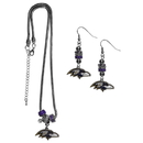 Siskiyou Buckle Baltimore Ravens Euro Bead Earrings and Necklace Set, FEBE180BNK