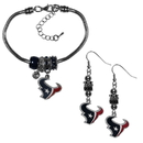 Siskiyou Buckle Houston Texans Euro Bead Earrings and Bracelet Set, FEBE190BBR
