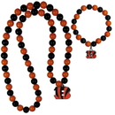 Siskiyou Buckle Cincinnati Bengals Fan Bead Necklace and Bracelet Set, FFBN010FBB