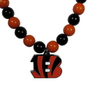Siskiyou Buckle FFBN010 Cincinnati Bengals Fan Bead Necklace
