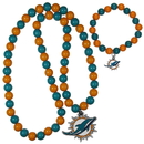 Siskiyou Buckle Miami Dolphins Fan Bead Necklace and Bracelet Set, FFBN060FBB