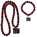 Siskiyou Buckle New York Giants Fan Bead Necklace and Bracelet Set, FFBN090FBB