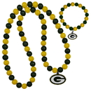 Siskiyou Buckle Green Bay Packers Fan Bead Necklace and Bracelet Set, FFBN115FBB