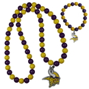 Siskiyou Buckle Minnesota Vikings Fan Bead Necklace and Bracelet Set, FFBN165FBB