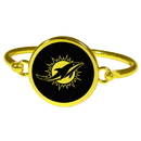 Siskiyou Buckle Miami Dolphins Gold Tone Bangle Bracelet, FGBB060