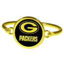 Siskiyou Buckle Green Bay Packers Gold Tone Bangle Bracelet, FGBB115
