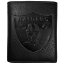 Siskiyou Buckle FLET125 Oakland Raiders Embossed Leather Tri-fold Wallet