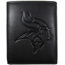 Siskiyou Buckle FLET165 Minnesota Vikings Embossed Leather Tri-fold Wallet