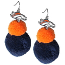 Siskiyou Buckle FPPE020 Denver Broncos Pom Pom Earrings