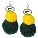 Siskiyou Buckle Green Bay Packers Pom Pom Earrings, FPPE115