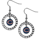 Siskiyou Buckle FRE005 Chicago Bears Rhinestone Hoop Earrings