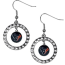 Siskiyou Buckle FRE190 Houston Texans Rhinestone Hoop Earrings