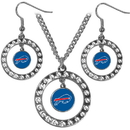 Siskiyou Buckle FRJS015 Buffalo Bills Rhinestone Hoop Jewelry Set