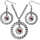 Siskiyou Buckle FRJS035 Arizona Cardinals Rhinestone Hoop Jewelry Set