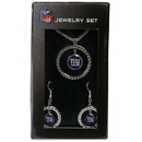 Siskiyou Buckle FRJS090 New York Giants Rhinestone Hoop Jewelry Set