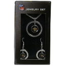 Siskiyou Buckle FRJS150 New Orleans Saints Rhinestone Hoop Jewelry Set
