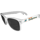 Siskiyou Buckle FS1B060W Miami Dolphins Beachfarer Bottle Opener Sunglasses, White