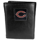 Siskiyou Buckle FTR005 Chicago Bears Deluxe Leather Tri-fold Wallet Packaged in Gift Box