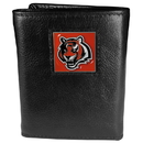 Siskiyou Buckle FTR010 Cincinnati Bengals Deluxe Leather Tri-fold Wallet Packaged in Gift Box