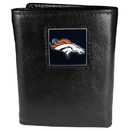 Siskiyou Buckle FTR020 Denver Broncos Deluxe Leather Tri-fold Wallet Packaged in Gift Box