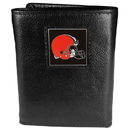 Siskiyou Buckle FTR025 Cleveland Browns Deluxe Leather Tri-fold Wallet Packaged in Gift Box