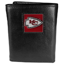 Siskiyou Buckle FTR045 Kansas City Chiefs Deluxe Leather Tri-fold Wallet Packaged in Gift Box