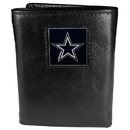 Siskiyou Buckle FTR055 Dallas Cowboys Deluxe Leather Tri-fold Wallet Packaged in Gift Box