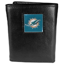 Siskiyou Buckle FTR060 Miami Dolphins Deluxe Leather Tri-fold Wallet Packaged in Gift Box