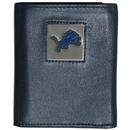 Siskiyou Buckle FTR105 Detroit Lions Deluxe Leather Tri-fold Wallet Packaged in Gift Box
