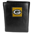 Siskiyou Buckle FTR115 Green Bay Packers Deluxe Leather Tri-fold Wallet Packaged in Gift Box