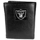 Siskiyou Buckle FTR125 Oakland Raiders Deluxe Leather Tri-fold Wallet Packaged in Gift Box
